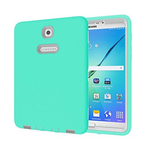 Galaxy Tab S28.0Fall, beimu 3in 1Hybrid PC + Silikon stoßfest stoßabsorbierenden Ecke/Bumper Schutz Armor Defender Schutzhülle für Samsung Galaxy Tab S28.0sm-t710/sm-t715, Aqua+Grey (Tab Samsung 3 Otterbox Galaxy)