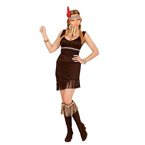 Widmann 02842 - Erwachsenenkostüm Indianerin, Kleid, Kopfband mit Feder, schwarz, Größe (Pferde Für Kostüme Indianer)