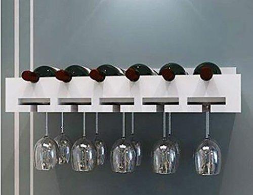 ZCJB Weinregal Holz Weinregal, Holz Wand-montiert Weinregal Weinglas Rack Goblet Halter Hängende...