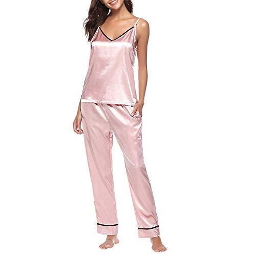 Pantalon Gilet Femme Pyjama Costume Costume De Service à Domicile,Kinlene Ensemble De Pyjama en Satin à Camisole en Dentelle Ensemble De Pyjama sans Manches en Dentelle