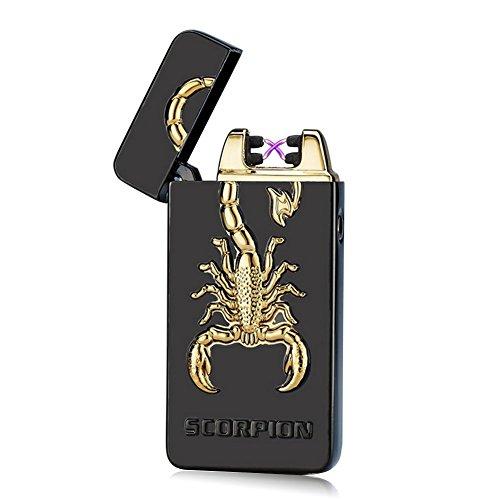SHUNING Briquet Classique USB Rechargeable Electrique Briquet sans Flamme avec Double Arc Anti Vent pour Cigarette (Scorpion noir)