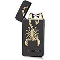 SHUNING USB Rechargeable Windproof Flameless Electronic Pulse Double Arc Cigarette Lighter Scorpion Pattern Plasma Lighter