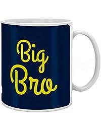 Indigifts Rakshabandhan Gifts for Brother Big Bro Quote Printed Coffee Mug 330 ml, Rudraksha Rakhi, Roli & Greeting Card - Raksha Bandhan Gifts, Best Rakhi Gifts for Brother, Rakhi for Brother with Gifts