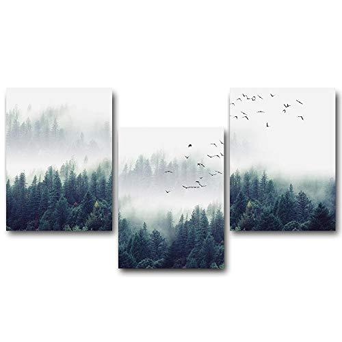 wwttoo Nordic Wald Landschaft wandkunst leinwand Poster und Druck leinwand malerei dekorative Bild für hauptdekoration wohnzimmer-70x100 cm Kein Rahmen 3designs