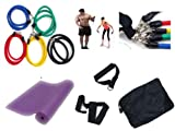 12 PCS SET - NATURAL LATEX TUBES EXERCISE RESISTANCE BANDS SET FOR YOGA ABS FITNESS PILATES WORKOUT GYM + YOGA MAT