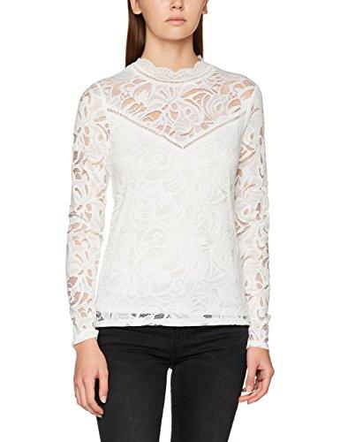 Vila Clothes Damen VISTASIA L/S LACE TOP-NOOS Langarmshirt, Weiß (Cloud Dancer Cloud Dancer), 36 (Herstellergröße: S)