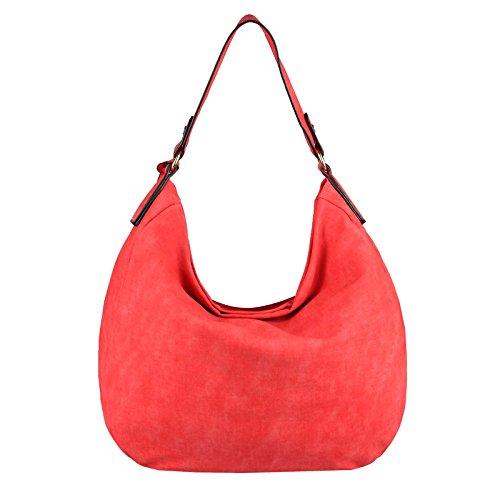OBC DAMEN TASCHE SHOPPER Hobo-Bag Henkeltasche Schultertasche Umhängetasche Handtasche CrossOver CrossBag Damentasche Reisetasche Beuteltasche (Dunkelblau 35x29x10 cm) Rot 40x33x13 cm
