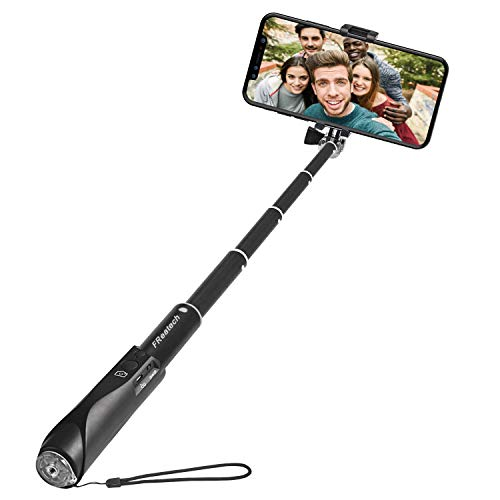 FReatech Bastone Selfie Bluetooth, Selfie Stick Monopiede Estensibile con Otturatore Wireless Bluetooth Integrato per iPhone X/8/7/6s/6 Plus, Galaxy S8/S8 Plus/Note 8 e Altri Smartphone iOS, Android