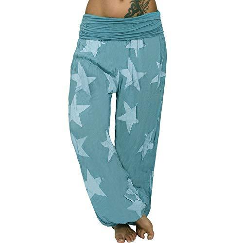 WOZOW Haremshose Damen Sterne Stars Muster Bedrucktes Gefaltet Plissee Mid Waist Pumphose Lose Lang Aladdin Indian Hippie Yoga Baggy Hose Freizeithose Stoffhose Plus Size (2XL,Grün -1) (Plus Size Onesies Erwachsene Für)