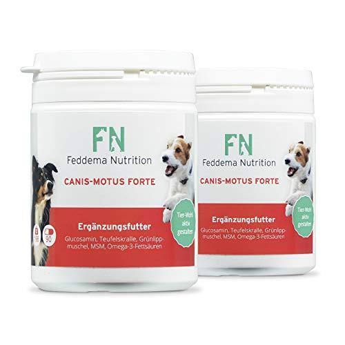 Feddema 3 x Canis-Motus Forte – Hunde-Ergänzungsfutter für Knorpel und Gelenke mit bis zu 3-mal mehr* Glucosamin, Teufelskralle, Grünlippmuschel, MSM