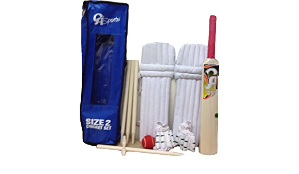 CA Kids Cricket Starter Bat Ball Stumps Pads Gloves Set Size 2 Age 5-8 Years