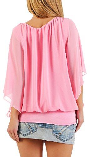 malito Damen Bluse im Fledermaus Look   Tunika mit Rundhals und breitem Bund   Blusenshirt kurzarm   Elegant