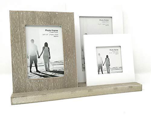 3marcos de fotos de madera en bandeja