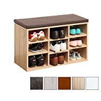 RICOO WM035-ES-B Shoe Rack 3 Tier Wooden Bench for Wardrobe Organiser Storage Box Cabinet Cupboard Stand Shelf with Seat | Sonoma Oak Wood and Brown Cushion