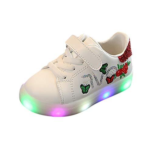 TUDUZ Kleinkind scherzt beiläufige einzelne Blumen-Haken-Schuh-Sandelholze der Baby-Mädchen Ballett Sneaker(Rot,26EU)
