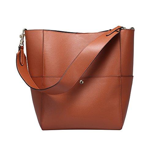 Mufly Frauen Art Vintage Echtes Leder Tote Schulterbeutel Braun Handtaschen Hobo Shopper Beuteltaschen (Hobo Bag Flap)
