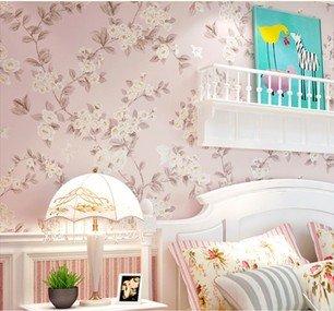 JSLCR Frisch und nicht gewebte Stoff Stanzen American pastoral Wohnzimmer Schlafzimmer Tapeten Hochzeitsblumen blau grüne Tapete