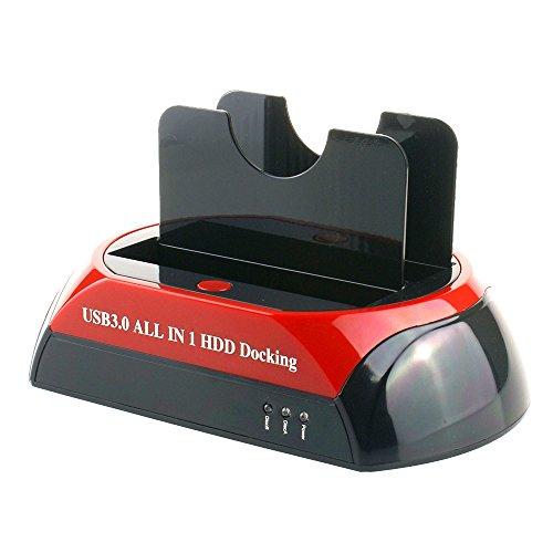 Tccmebius TCC-875U3-DE USB 3.0 zu SATA und IDE Dual Slots Festplatte Docking-Station für 2.5 und 3.5 Zoll IDE SATA I/II/III HDD SSD (Keine Unterstützung der WD IED-Festplatte)