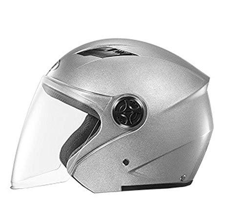 Casco moto casco moto elettrico maschile batteria auto casco femminile quattro stagioni mezzo casco anti,nebbia caldo,argento