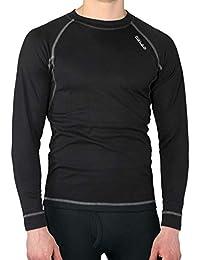 Camiseta térmica para hombre de manga larga, ideal para deportes de invierno o situaciones de frío y humedad. Con aislante térmico, transpirable, ligera y confortable. EFECTO THERMAL. (Negro, XL)