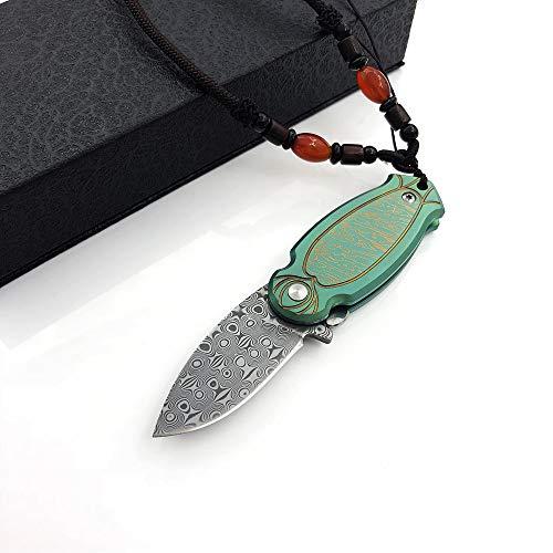 AUBEY Taschenmesser Damaststahl Messer Klein Outdoor, Mini Damastmesser Damast Klappmesser Damastklinge und TC4 Titan Griff ( Grün ) *