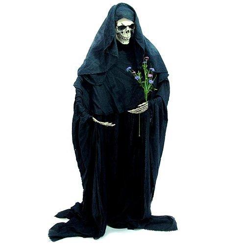 Europalms Halloween Figur Skelett formbar | Stehendes Skelett im schwarzen Umhang | Individuell zu (Halloween Figuren)