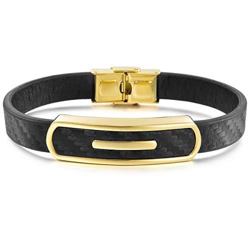 MunkiMix Edelstahl Gummi Kautschuk Armband Armreifen Manschette Schwarz Golden Ton Herren