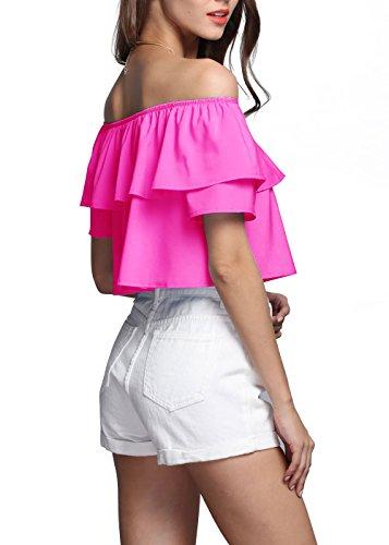 YACUN Frauen von der Schulter Rüschen Crop Shirt RoseRed