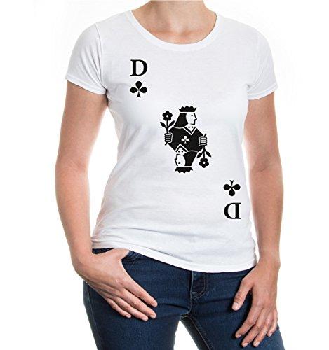 buXsbaum® Damen Kurzarm Girlie T-Shirt Bedruckt Dame Karte Kreuz   Spielkarte Kostüm Kartenspiel   M White-Black Weiß (White Lady Kostüm)