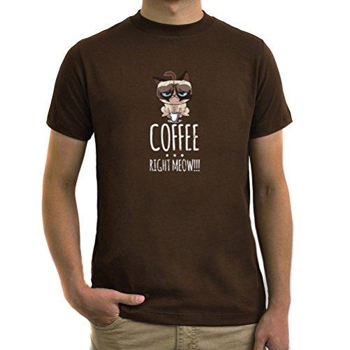 Maglietta Coffee Right Meow!!! Marrone