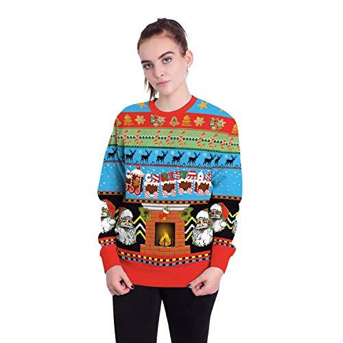 Damen Herren Sweatshirt Hoodies 2018 Europäische Und Amerikanische Erwachsene Weihnachtsmann Rundhals Langarm-Pullover, L, Santa Claus 1