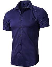 INFLATION Herren Hemd aus Bambusfaser umweltfreudlich Elastisch Slim Fit für Freizeit Business Hochzeit Reine Farbe Hemd Kurzarm Herren-Hemd, 9 Farben