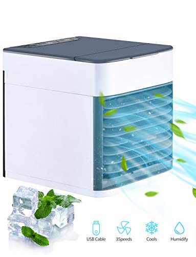 Mini Luftkühler, 3 in 1 Mini Air Cooler, USB Ventilator Tragber Mobile Klimageräte, 3 Kühlstufen für zu Hause, Büro, Auto, Hotel, Garage, Camping.