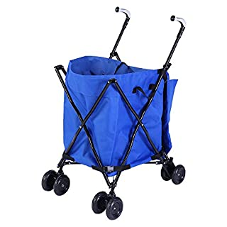 Zerone Handcart Shopping Trolley Portable Shopping Cart with Blue Oxford Bag Maximum Load 25kg
