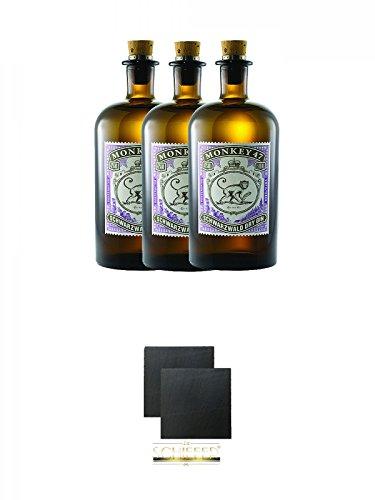 Monkey 47 Schwarzwald Dry Gin 3 x 0,5 Liter + Schiefer Glasuntersetzer eckig ca. 9,5 cm Ø 2 Stück (Alkohol 47)