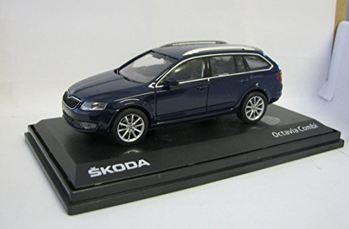 Preisvergleich Produktbild DieCast Metall Miniaturmodell Modellauto 1:43 Skoda Octavia Kombi Pacific Blau Tschechischer PKW Abrex inklusive Kunststoff Vitrin