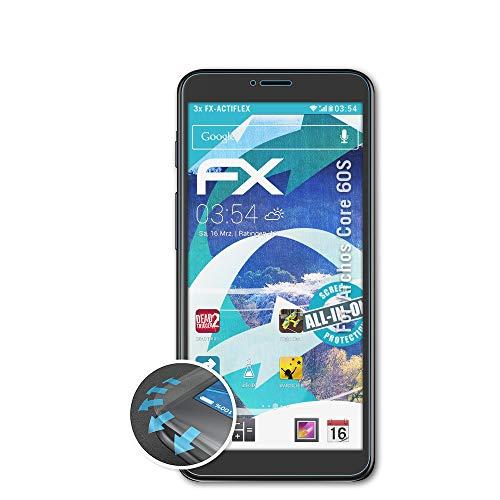atFolix Schutzfolie passend für Archos Core 60S Folie, ultraklare & Flexible FX Bildschirmschutzfolie (3X)