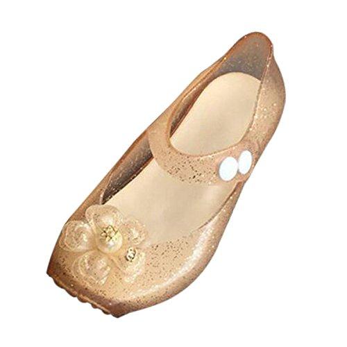 Meijunter Bébé Filles Mignonne Fleurs Antidérapant Souples Gelée Ballet Chaussures Plates Bambin Enfants Plage Sandals Pluie Bottes Or