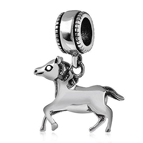 Charm-Anhänger für Pandora-Charm-Armband, 925 Sterlingsilber, Pferdemotiv C