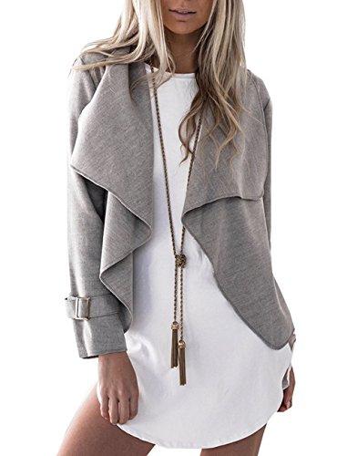 LemonGirl Cardigan à manches longues pour femmes Manteau court Manteaux gray