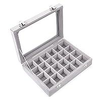 sf-world 24 Section Velvet Glass Jewelry Ring Display Organiser Box Tray Holder Earrings Storage Case