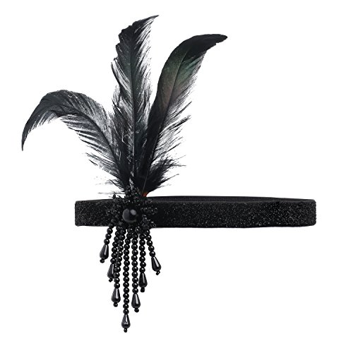 ArtiDeco 1920s Stirnband Damen Gatsby Kostüm Accessoires 20er Jahre Flapper Feder ()
