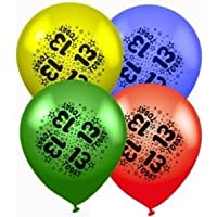 Age 13 or 13th Birthday Assorted Latex Balloons 8 pack Air Or Helium Party Decorations Jam®