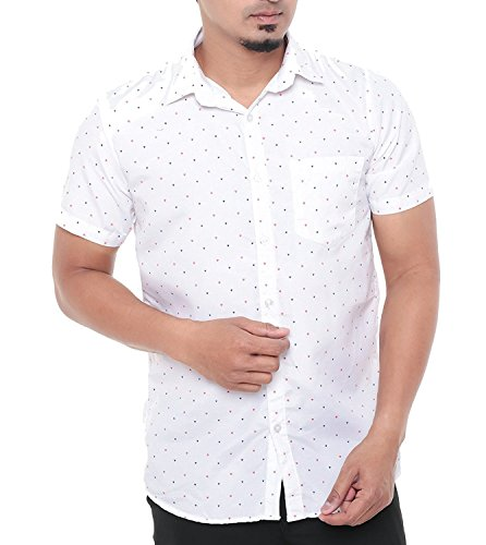 Twist Men's Arrow Printed Regular Fit Semi Formal Shirt Cotton (Size: M to XL) (Plus size : XXL,XXXL,3XL) (White, Small)  available at amazon for Rs.399