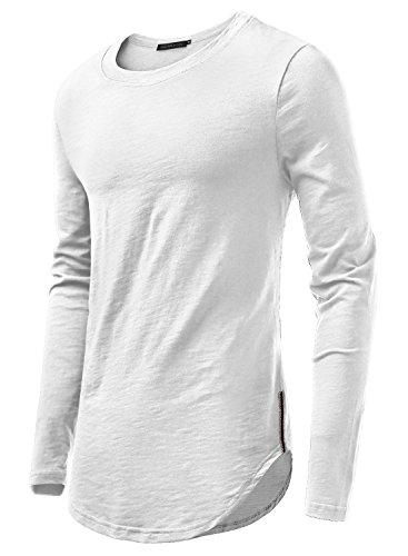HEMOON Homme T-shirt à Manches longues Slim Col rond Confortable en Coton Elastique Beige M