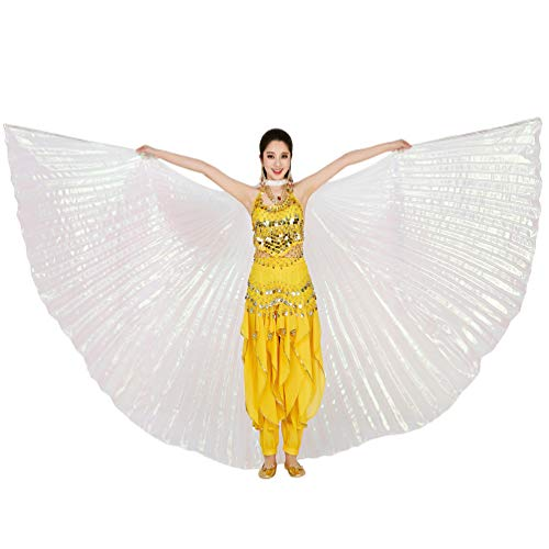 Tragen Bühne Tanzkostüm - Tookang Dance Fairy Bauchtänzerin Isis Flügel Keine Sticks Tanzkostüm-Zubehör Bauch Tanz Darstellende Künste Halloween Fasching 2# Transparent weiß (ohne stick)