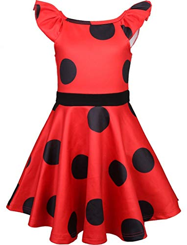 Superhelden Kostüm Damen Selbstgemacht - Cartoon Miraculous Marienkäfer Kleid Party Cosplay Kostüm Kinder Mädchen Kleid Outfits Polka Dots