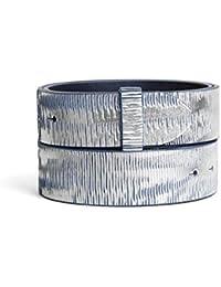 VaModa Ceinture en cuir, Belt, modèle Heavy Metall bleu argent, sans boucle 7f2c5dc84c8