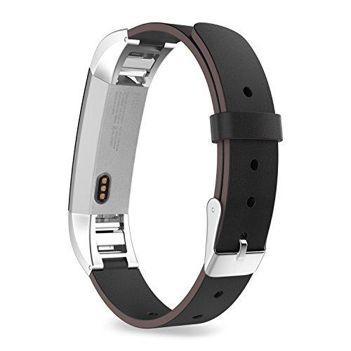 MoKo Armband für Fitbit Alta/Alta HR - Premium Soft Echt Leder Uhrenarmband Lederarmband Erstatzband Uhr Band Watchband mit Metallschließe für Fitbit Fitness Armband Alta, Schwarz