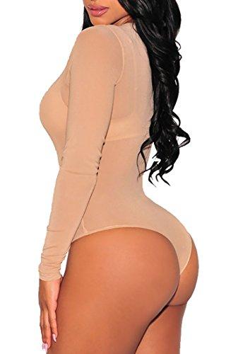 Body sexy donna maglia trasparente maniche lunghe elegante scollo rotondo Beige